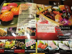 刺身・寿司メニュー