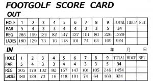 フットゴルフスコアカード